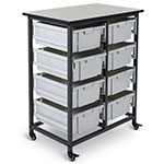 Luxor Mobile Bin Storage Unit - Double Row - 8 Large Bins - MBS-DR-8L ES7438