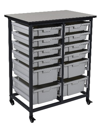 Luxor MBS-DR-8S4L - Mobile Bin Storage Unit - 8 Small Bins 4 Large Bins ES7439