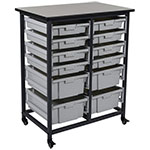 Luxor Mobile Bin Storage Unit - Double Row - 8 Small Bins 4 Large Bins - MBS-DR-8S4L ES7439