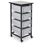 Luxor Mobile Storage Unit - Single Row - 4 Large Bins - MBS-SR-4L ES7441