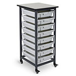 Luxor Mobile Bin Storage Unit - Single Row - 8 Small Bins -MBS-SR-8S ES7442
