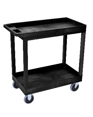 Luxor EC-Series Heavy Duty - 32 x 18 Tub Cart - 2 Shelves (3 Colors Available)