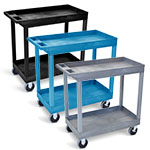 "Luxor 32"" x 18"" Tub Cart - Two Shelves with 5"" Casters - EC11HD (3 Colors Available) ES7446"