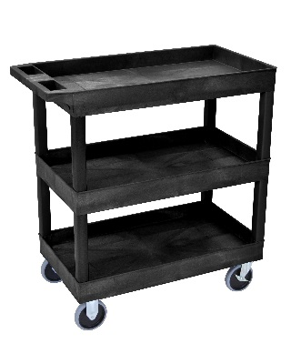 Luxor EC-Series Heavy Duty - 32 x 18 Tub Cart - 3 Shelves (3 Colors Available)
