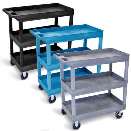 "Luxor  32"" x 18"" Tub Cart - Three Shelves with 5"" Casters - EC111HD (3 Colors Available)"