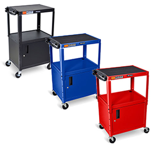 Luxor Adjustable Height Steel A/V Cart/Cabinet - (3 Colors Available)