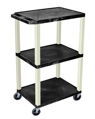 "Luxor 42"" Tuffy A/V Cart - 3 Shelves - Putty Leg (7 Colors Available)"