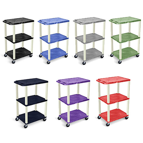 Luxor 42 Tuffy A/V Cart - 3 Shelves - Putty Leg (7 Colors Available)