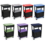 "Luxor 42"" AV Cart - 3 Shelves, Cabinet, Drawer (7 Colors Available) ES7469"