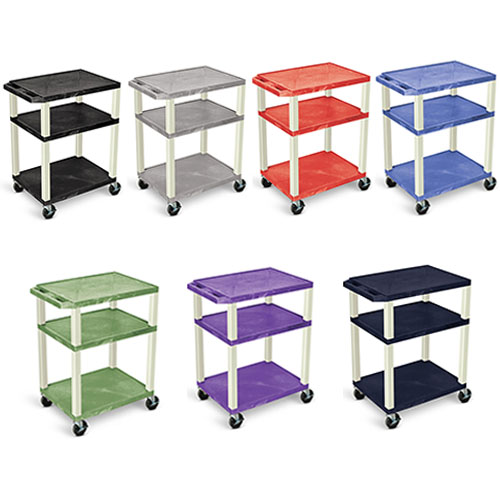 "Luxor 34"" AV Cart - 3 Shelves - Electric - Putty Leg (7 Colors Available)"