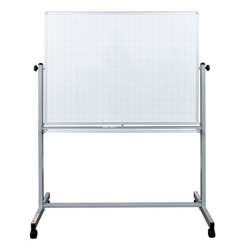 "Luxor 48"" x 36"" Mobile Magnetic Double-Sided Ghost Grid Whiteboard - MB7240LB"