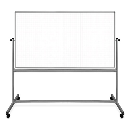 "Luxor 72"" x 40"" Mobile Magnetic Double-Sided Ghost Grid Whiteboard - MB7240LB"