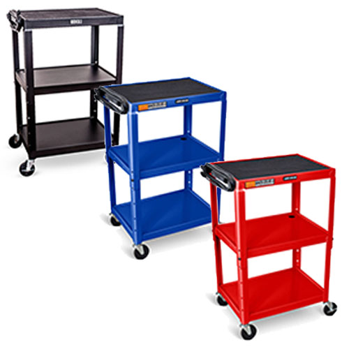 Luxor Adjustable-Height Steel AV Cart (3 Colors Available)