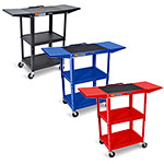 Luxor Adjustable-Height Steel AV Cart - Drop Leaf Shelves - AVJ42DL (3 Colors Available) ET10446