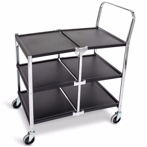 Luxor Three-Shelf Collapsible Metal Utility Cart - MSCC-3