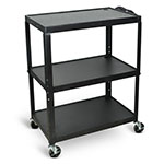 Luxor Extra-Large Adjustable-Height Electric Steel AV Cart - Three Shelves - Black - AVJ42XL ET10451