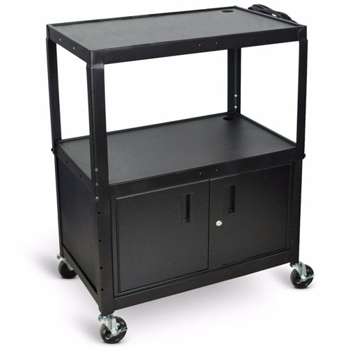 Luxor Extra Large Adjustable Height Electric Steel AV Cart - Three Shelves - Black - AVJ42XLC