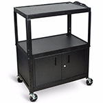 Luxor Extra Large Adjustable Height Electric Steel AV Cart - Three Shelves - Black - AVJ42XLC ET10452