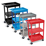 Luxor Top/Bottom Tub and Flat Middle Shelf Cart - STC121 (4 Colors Available) ET10457