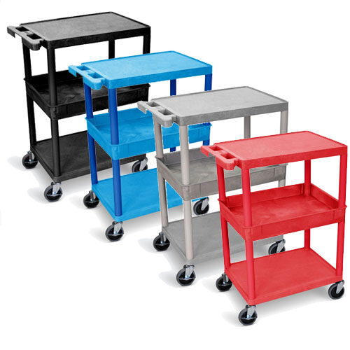 Luxor Flat Top/Bottom and Tub Middle Shelf Cart - STC212 (4 Colors Available)
