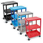 Luxor Flat Top/Middle and Tub Bottom Shelf Cart - STC221 (4 Colors Available) ET10459