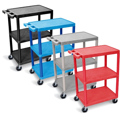 Luxor Flat Shelf Cart - Three Shelves - STC222 (4 Colors Available)