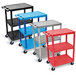 Luxor Flat Shelf Cart - Three Shelves - STC222 (4 Colors Available) ET10460