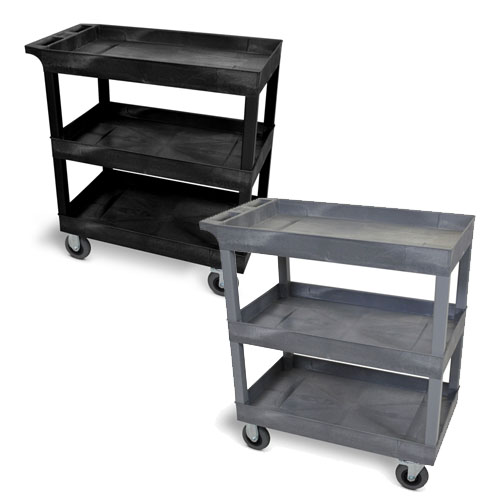 "Luxor 32"" x 18"" Cart - Three-Tub Shelf with 5"" Casters (2 Colors Available)"