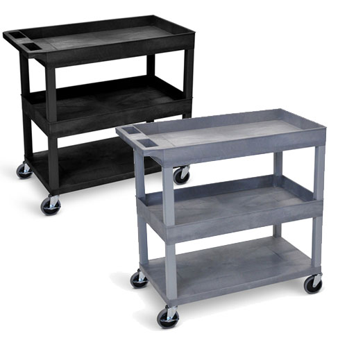 "Luxor 32"" x 18"" Cart - Two Tub/One Flat Shelves (2 Colors Available)"