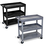 "Luxor 32"" x 18"" Cart - Two Tub/One Flat Shelves - EC112 (2 Colors Available) ET10466"