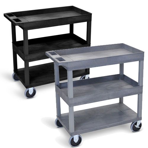 "Luxor 32"" x 18"" Cart - Two Tub/One Flat Shelves with 5"" Casters (2 Colors Available)"