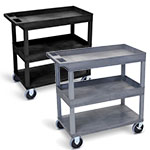 "Luxor 32"" x 18"" Cart - Two Tub-One Flat Shelves with 5"" Casters - EC112HD (2 Colors Available) ET10467"