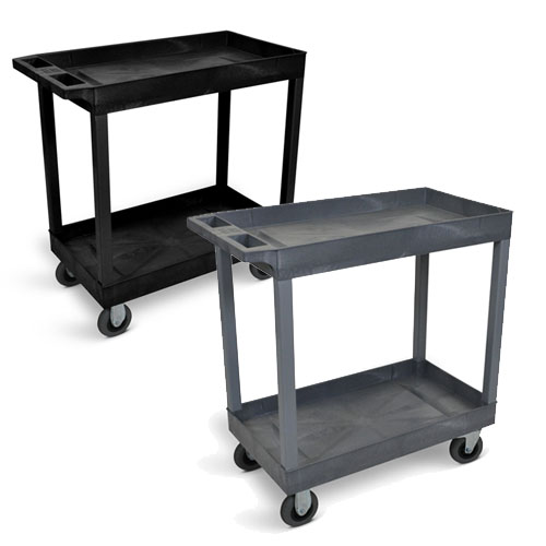 "Luxor 32"" x 18"" Cart - Two Tub Shelf with 5"" Casters (2 Colors Available)"