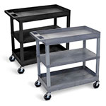 "Luxor 32"" x 18"" Cart - Two Tub/One Flat Shelves - EC121 (2 Colors Available) ET10472"