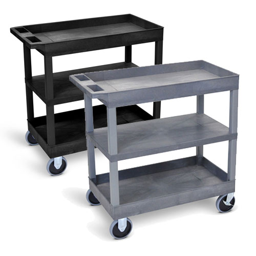 "Luxor 32"" x 18"" Cart - Two Tub/One Flat Shelves with 5"" Casters - EC121HD (2 Colors Available)"
