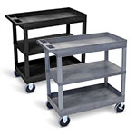 "Luxor 32"" x 18"" Cart - Two Tub/One Flat Shelves with 5"" Casters - EC121HD (2 Colors Available) ET10473"