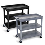 "Luxor 32"" x 18"" Cart - Two Flat/One Tub Shelves - EC122 (2 Colors Available) ET10474"