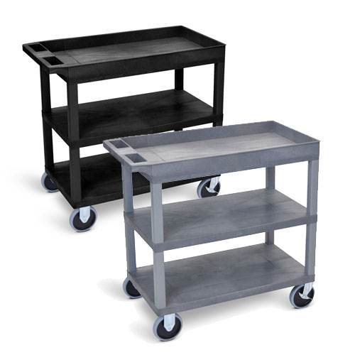 "Luxor 32"" x 18"" Cart - Two Flat/One Tub Shelves with 5"" Casters - EC122HD (2 Colors Available)"