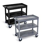 "Luxor 32"" x 18"" Cart - Two Flat/One Tub Shelves with 5"" Casters - EC122HD (2 Colors Available) ET10475"