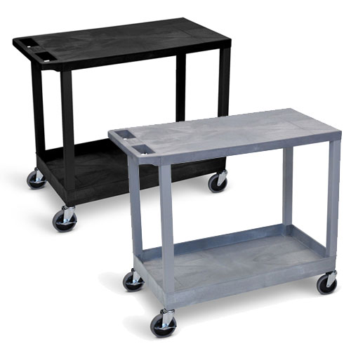 "Luxor 32"" x 18"" Cart - One Tub/One Flat Shelves with 5"" Casters - EC21 (2 Colors Available)"