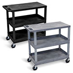 "Luxor 32"" x 18"" Cart - Two Tub/One Flat Shelves - EC211 (2 Colors Available) ET10477"