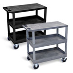 "Luxor 32"" x 18"" Cart - Two Tub/One Flat Shelves with 5"" Casters - EC211HD (2 Colors Available) ET10479"