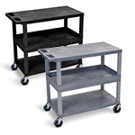 "Luxor 32"" x 18"" Cart - Two Flat/One Tub Shelves - EC212 (2 Colors Available) ET10480"