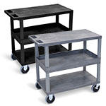 "Luxor 32"" x 18"" Cart - Two Flat/One Tub Shelves with 5"" Casters - EC212HD (2 Colors Available) ET10493"