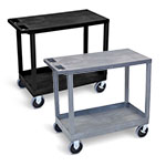 "Luxor 32"" x 18"" Cart - One Tub/One Flat Shelves with 5"" Casters - EC21HD (2 Colors Available) ET10494"