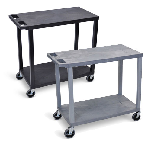 "Luxor 32"" x 18"" Cart - Two Flat Shelves - EC22 (2 Colors Available)"