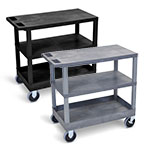 "Luxor 32"" x 18"" Cart - Two Flat/One Tub Shelves with 5"" Casters - EC221HD (2 Colors Available) ET10498"