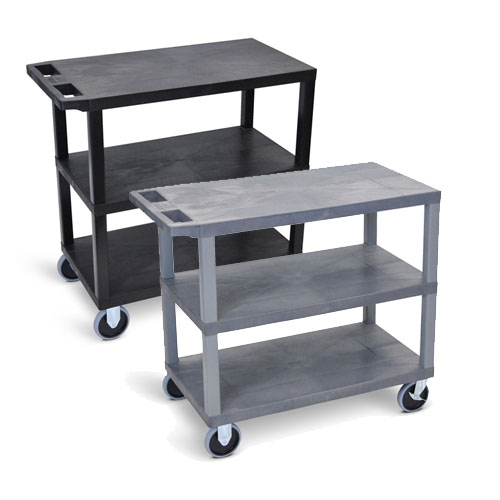 "Luxor 32"" x 18"" Cart - Three Flat Shelves with 5"" Casters - EC222HD (2 Colors Available)"
