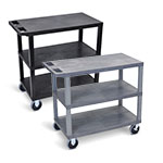 "Luxor 32"" x 18"" Cart - Three Flat Shelves with 5"" Casters - EC222HD (2 Colors Available) ET10500"