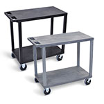 "Luxor 32"" x 18"" Cart - Two Flat Shelves with 5"" Casters - EC22HD (2 Colors Available) ET10501"